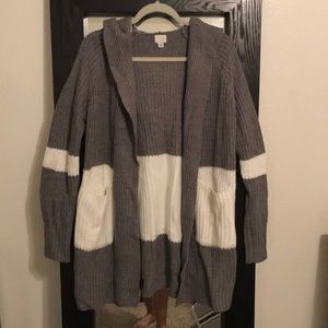 Grey and white cardigan with good. Never worn.